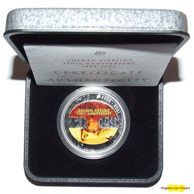 2003 $1 Silver Proof Golden Pipeline 100th Anniversary